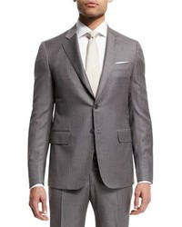 Isaia Super 140s Striped Two Piece Suit Light Gray