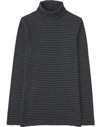 Uniqlo Ribbed Striped Turtleneck Long Sleeve T