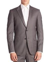 Grey Vertical Striped Wool Blazer