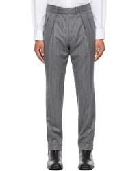 Officine Generale Grey Wool Striped Pierre Trousers