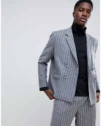 ASOS WHITE Boxy Double Breasted Blazer In 100% Wool Textured Stripe