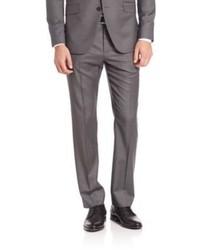 Grey Vertical Striped Wool Dress Pants