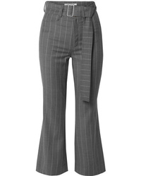 Orseund Iris Cropped Pinstriped Wool Blend Flared Pants