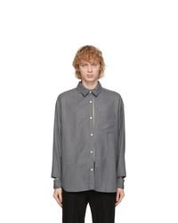 N. Hoolywood Grey Striped Random Slit Shirt