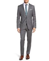 BOSS Hugegenius Trim Fit Stripe Wool Suit