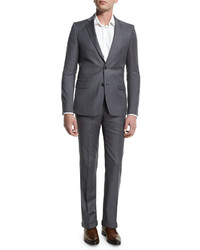 Pinstripe two piece suit light gray medium 655158