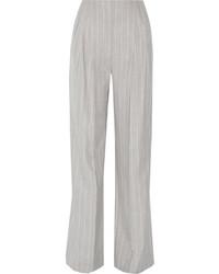 Protagonist Pinstriped Wool Wide Leg Pants Gray