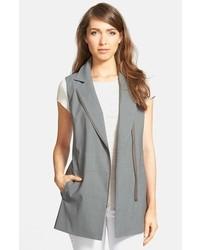 Nordstrom Collection Asymmetrical Zip Linen Blend Vest