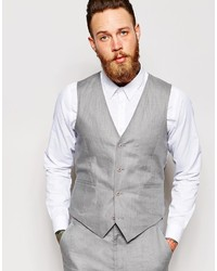 Asos Brand Slim Fit Vest In 100% Linen