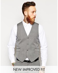 Asos Brand Slim Vest In Gray