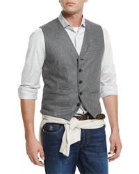 Brunello Cucinelli Flannel Wool Waistcoat Gray