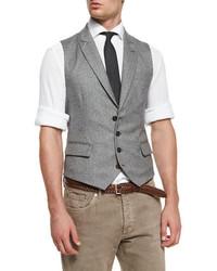 Brunello Cucinelli Chevron Four Button Wool Waistcoat Gray