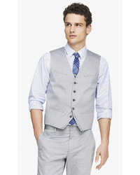 Express Light Gray Oxford Cloth Suit Vest