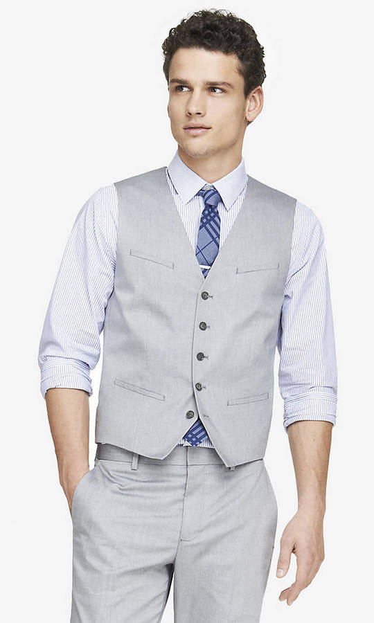 Express Light Gray Oxford Cloth Suit Vest | Where to buy & how to wear