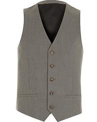 River Island Grey Slim Suit Vest