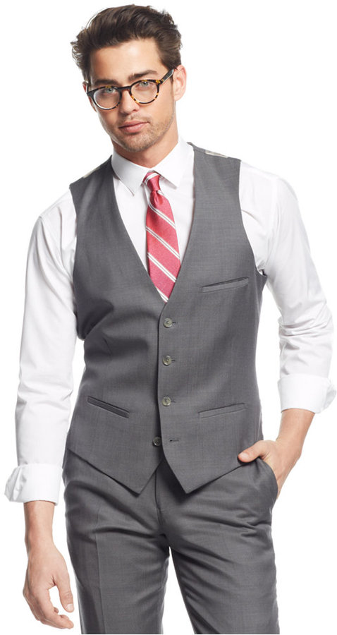 Bar Iii Mid Grey Slim Fit Pindot Vest