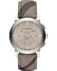 Burberry 42mm Check Strap Chrono Watch