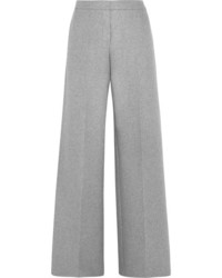 Alexander McQueen Cashmere Wide Leg Pants Light Gray