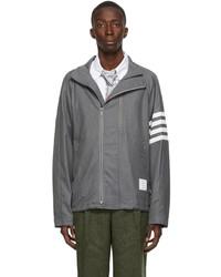 Thom Browne Grey 4 Bar Double Zip Raglan Jacket