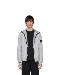 Stone Island Grey Nylon Rep Hooded Coat