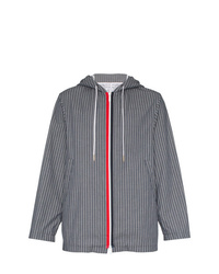 Thom Browne Stripe Print Hooded Cotton Jacket
