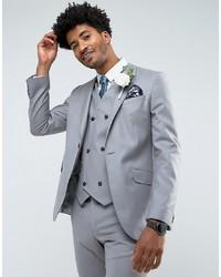 ASOS DESIGN Asos Slim Suit Jacket In 100% Wool In Mid Grey