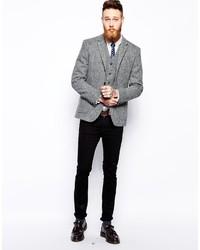 26d439b6193 ... Asos Brand Slim Fit Blazer In Harris Tweed ...