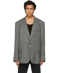 Vetements Grey Houndstooth Gothic Logo Tailored Blazer