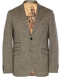 Billy Reid Grey Loring Slim Fit Wool And Cashmere Blend Tweed Suit Jacket