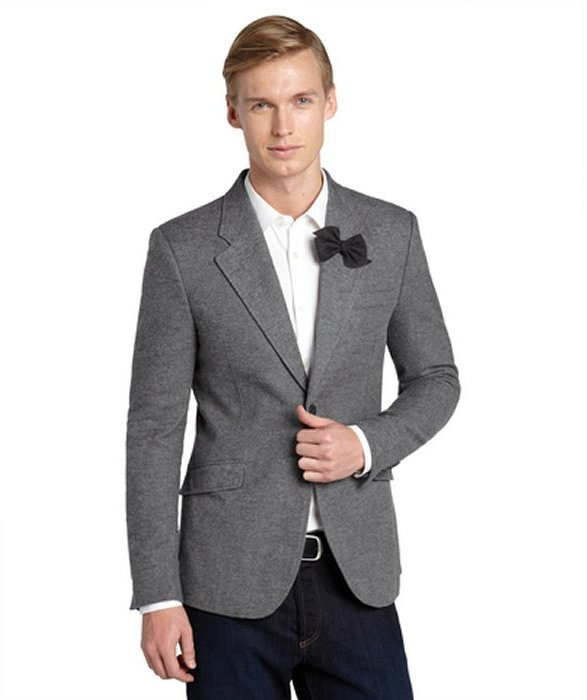Antony Morato Grey Wool 2 Button Bow Tie Pin Jacket   Where to buy ...