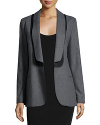 See by Chloe Layered Collar Open Blazer Grayblack