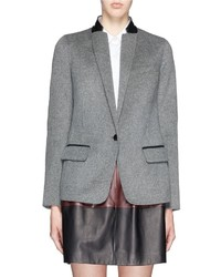 Vince Leather Trim Wool Blend Flannel Blazer