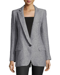 Smythe One Button Long Sleeve Blazer Gray Tweed