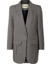 Fendi Oversized Checked Wool Blend Jacket