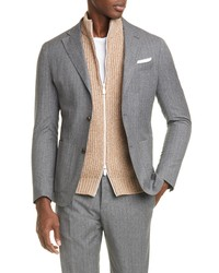 Eleventy Slim Fit Stripe Wool Cotton Sport Coat