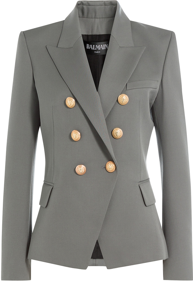 abad01eb2 $1,819, Balmain Wool Blazer With Embossed Buttons