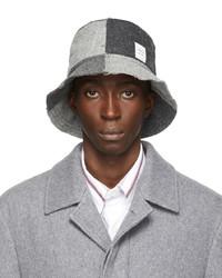 Thom Browne Grey Shetland Wool Quarter Split Bucket Hat