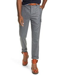 Brunello Cucinelli Leisure Fit Wool Flannel Cargo Pants