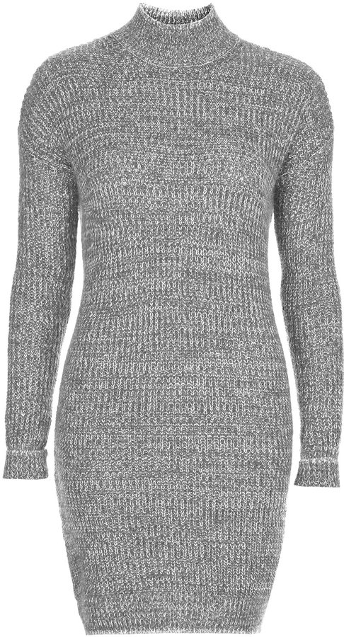 Topshop Chunky Knit Jumper Dress With Roll Neck 56 Acrylic 31