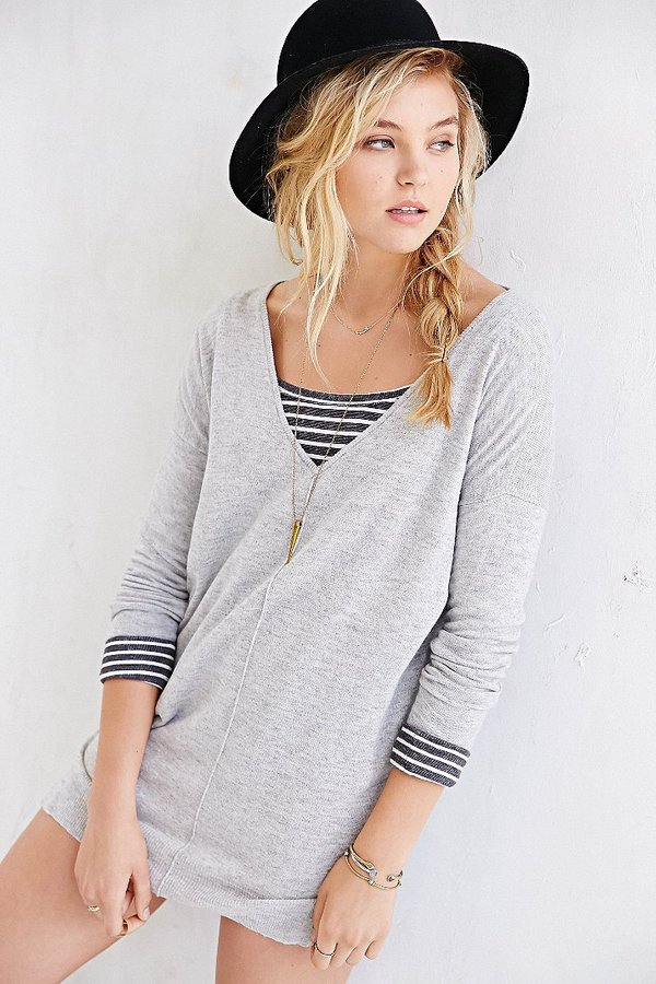 d905f87d95d ... Sparkle   Fade Deep V Side Slit Sweater Dress ...