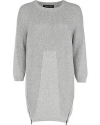 River Island Grey Geometric Pattern Sweater Dress