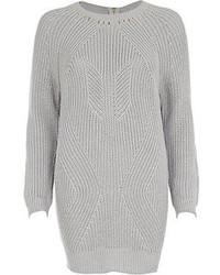 River Island Grey Geometric Rib Studded Sweater Dress