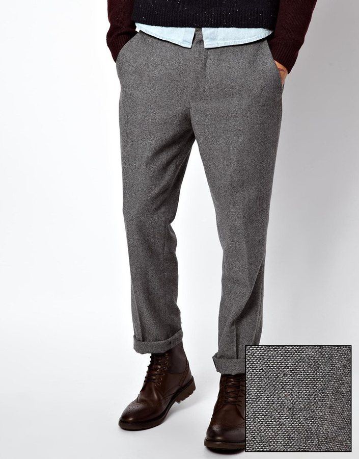 9cfbeac661b ... Asos Slim Fit Smart Pants In Wool Mix Gray