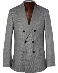 Brunello Cucinelli Grey Double Breasted Houndstooth Wool Jacket