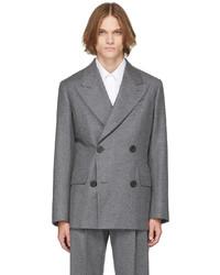 Alexander McQueen Grey Wool Felt Tailored Double Breasted Blazer