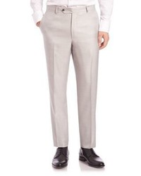 Saks Fifth Avenue Collection By Samuelsohn Classic Fit Pleated Wool Silk Trousers