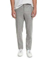Brunello Cucinelli Flat Front Wool Trousers Light Gray