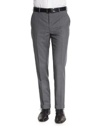 Flat front wool trousers light gray medium 610208