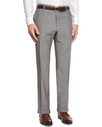 BOSS Genesis Wool Flat Front Tapered Trousers Gray
