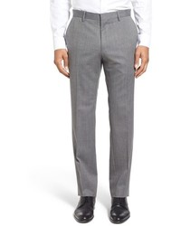 BOSS Giro Flat Front Solid Wool Blend Trousers